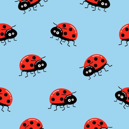 Seamless background with cartoon ladybug on blue. Simple pattern. Vector illustration. 向量圖像