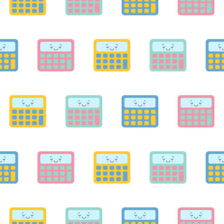 Little cute kawaii colorful calculator , seamless pattern on white background.