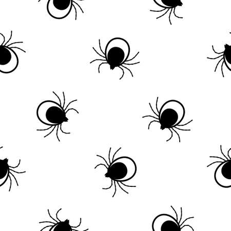 Seamless pattern with Tick. Mite. on white background Vector illustration