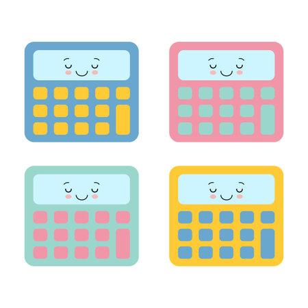 Calculator isolated symbol cute kawaii cartoon character colorful set 向量圖像