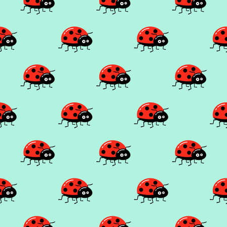 Seamless background with cartoon ladybug on green. Simple pattern. Vector illustration.