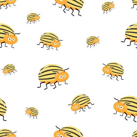 Seamless pattern with colorado potato beetle. Leptinotarsa decemlineata. colorado beetle. cartoon character on white background.