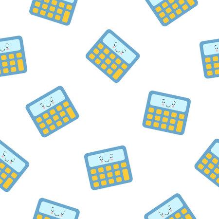 Little blue cute kawaii calculator , seamless pattern on white background. 向量圖像