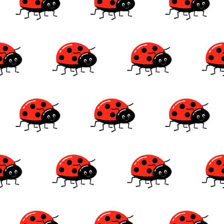Seamless background with ladybug. Vector illustration. Pattern with beetles for tissue, paper, prints and other.