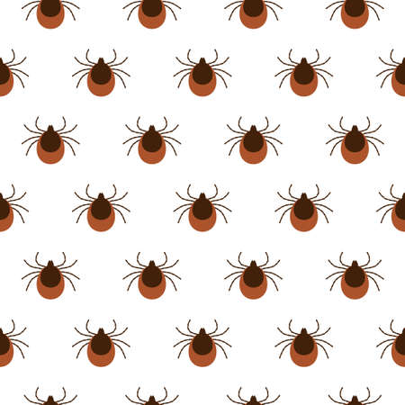Vector realistic isolated seamless pattern with tick insects for decoration and covering on the white background.