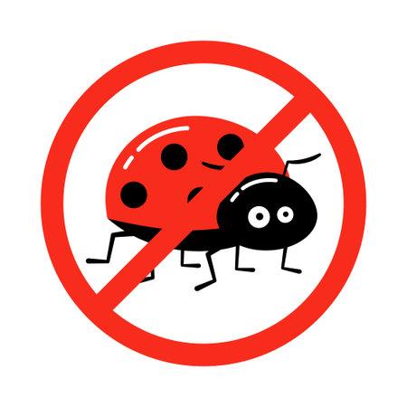 no ladybug prohibition sign vector on white background