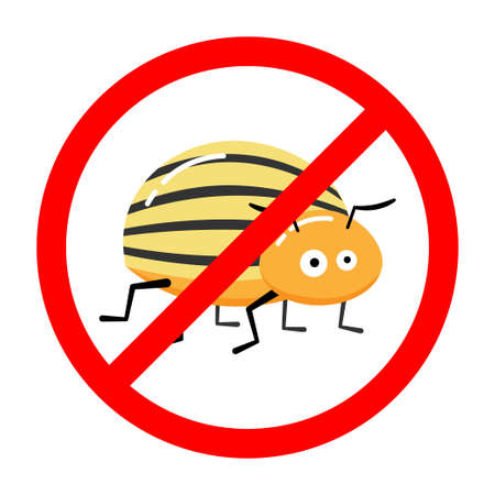 Vector illustration of forbidden sign with colorado beetle isolated on white 向量圖像
