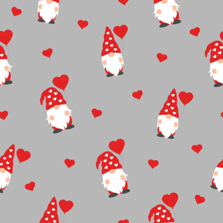 cute valentines gnomes in red hats and hearts in a valentines day seamless pattern on grey background