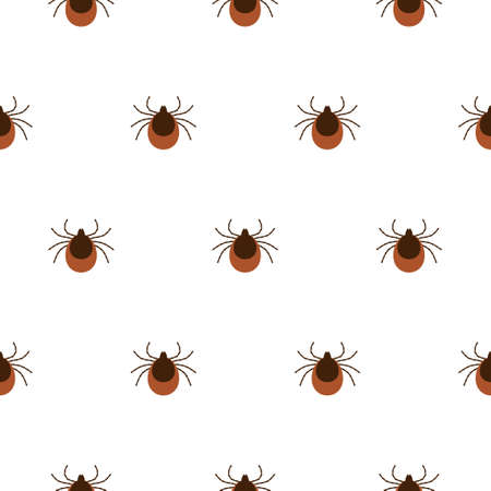 Vector realistic isolated seamless pattern with tick insects for decoration and covering on the white background. Flat illustration