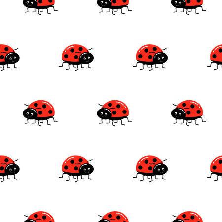 Ladybug seamless pattern, cartoon vector illustration background