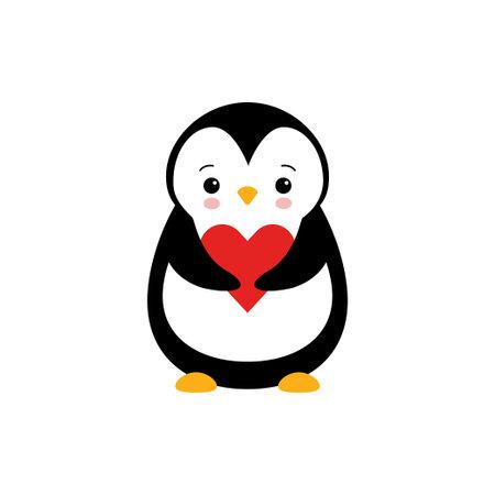 Penguin with heart. Penguin cartoon vector illustration. 向量圖像