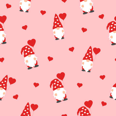 cute valentines gnomes in red hats and hearts in a valentines day seamless pattern on pink background 向量圖像