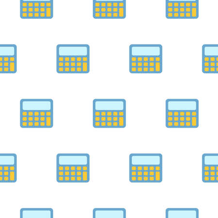 Pattern of the illustration of the calculator. Vector illustration on a white isolated background. Stock image. 向量圖像