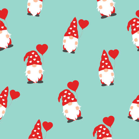 Valentines day seamless pattern with cute gnomes and red hearts on green background