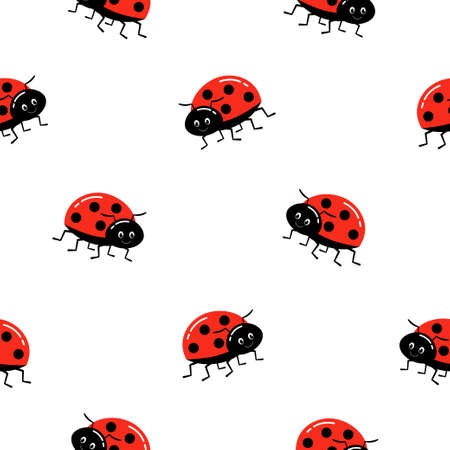 Funny ladybugs seamless pattern. Template for fashion prints, wrapping paper, background, fabric, surface design. 向量圖像