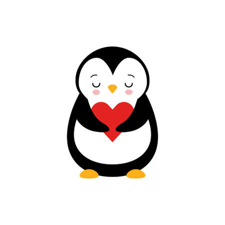 Adorable Penguin with Red Cheeks Holding Heart Vector Illustration