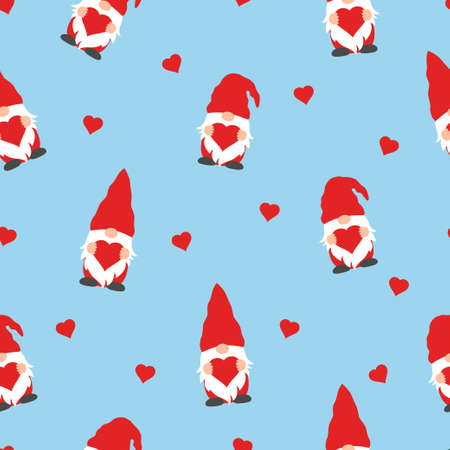 cute valentines gnomes in red hats and hearts in a valentines day seamless pattern on blue background