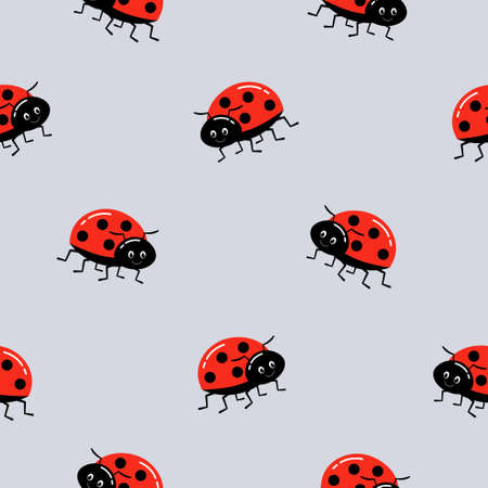 Seamless background with ladybug. Vector illustration on gray. Pattern with beetles for tissue, paper, prints and other. 向量圖像