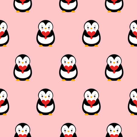 seamless pattern texture of penguin and heart on pink background.
