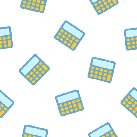 Pattern of the illustration of the blue calculator. Vector illustration on a white isolated background. Stock image. 向量圖像