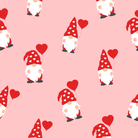 Valentines day seamless pattern with cute gnomes and red hearts on pink background