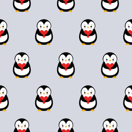 seamless pattern texture of penguin and heart on grey background.