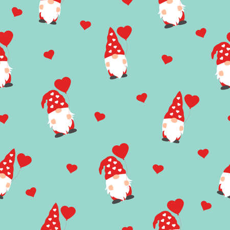 cute valentines gnomes in red hats and hearts in a valentines day seamless pattern on green background 向量圖像