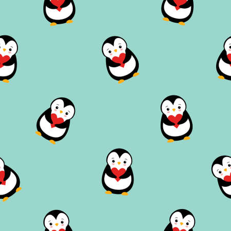 Vector seamless pattern of colored flat cartoon cute penguin with heart isolated on green background