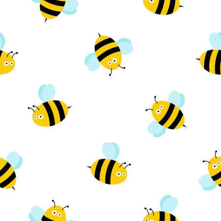 Seamless Pattern with flying bees. Vector Cartoon black and yellow bees isolated on white background. Illustration