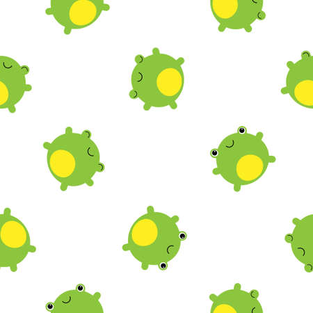 seamless pattern with cute happy baby frog - vector illustration