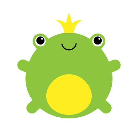 Cute little frog prince with a golden crown on its head illustration