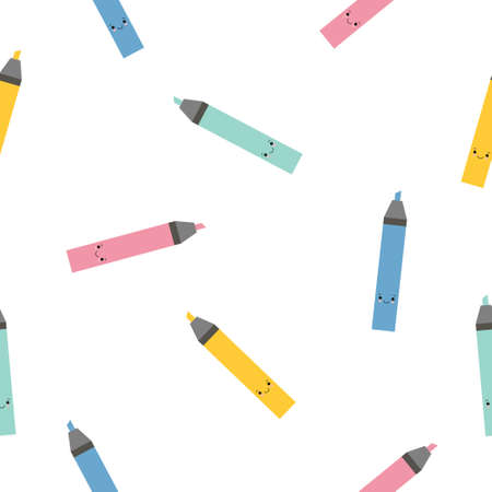 Multi-colored cute cartoon markers highlighters sample pattern. Bright endless background. Good for school and business backgrounds.
