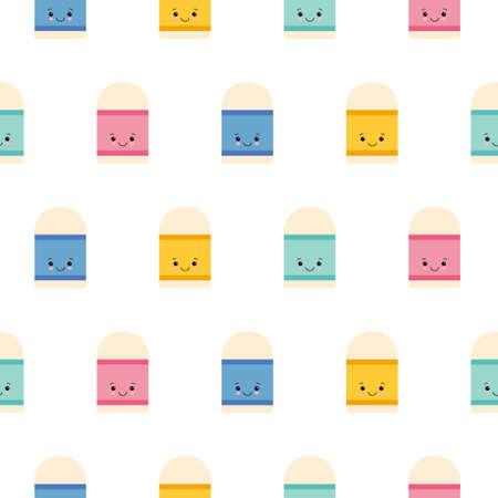 Cute Eraser icon pattern seamless isolated on white background. Editable flat Eraser icon. Illustration