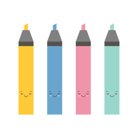 set of cute cartoon marker pens, red, green, yellow, blue. Vector art colourful highlighters