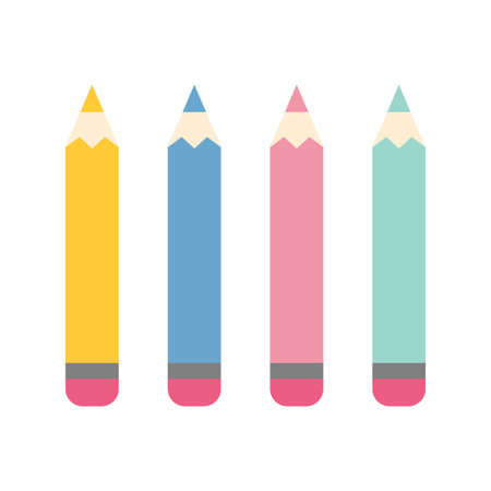 Set of color pencils for drawing. Art and education. Flat vector cartoon illustration.