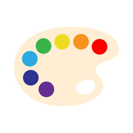 Cartoon art palette with eight colors, vector illustration