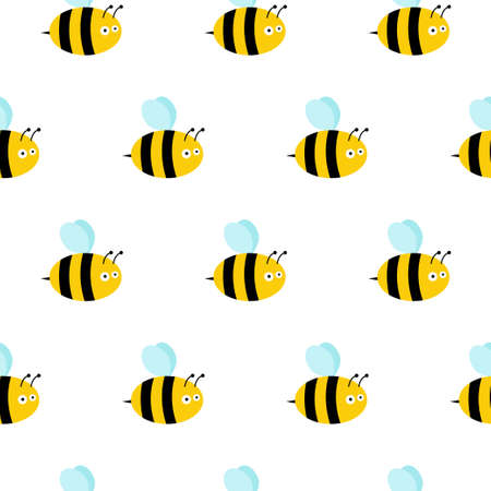Bees seamless pattern. Vector illustration. Image of flying bees.
