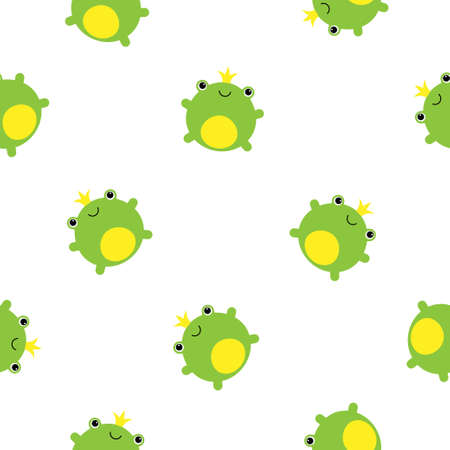 Seamless pattern with cute green frogs and crowns vector illustration Illustration