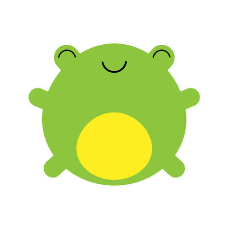 A cartoon vector illustration of a cute little green happy frog.