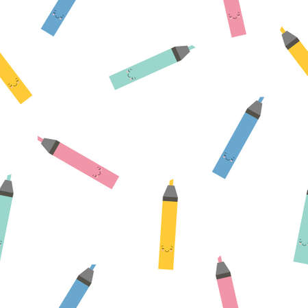 Multi-colored cute cartoon markers highlighters sample pattern. Bright endless background. Good for school and business backgrounds. Kawaii illustration Illustration