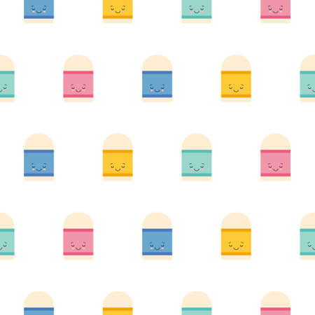 Cute Kawaii Eraser Character icon pattern seamless isolated on white background. Editable flat Eraser icon. Illustration