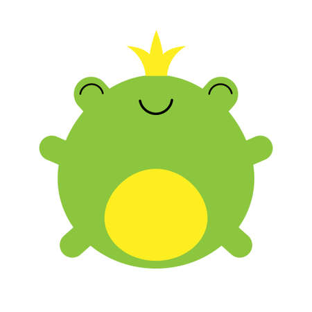 Cute little frog prince with a golden crown on its head kawaii illustration Illustration