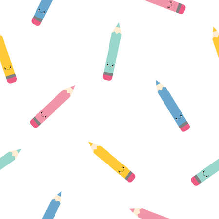 Funny seamless pattern with with cartoon cute pencils. Back to school background. Kawaii style