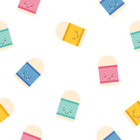 Cute Kawaii Eraser Character icon pattern seamless isolated on white background. Cartoon style Illustration