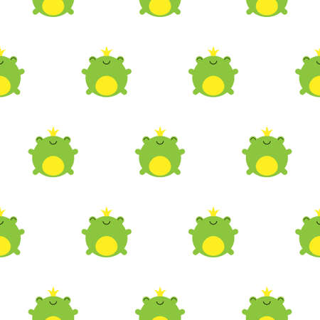 Seamless pattern with cute green frogs and crowns vector kawaii illustration Illustration