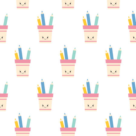 cute pencil holder with pencils seamless pattern background. flat illustration