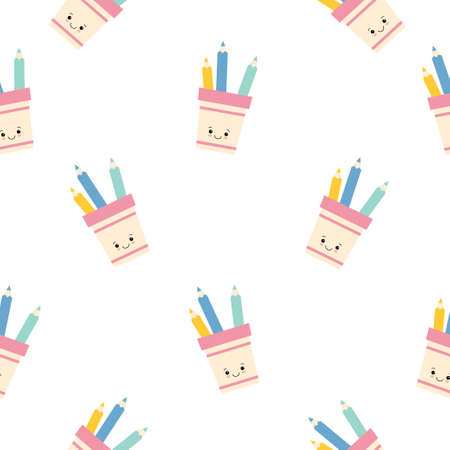 cute pencil holder character with pencils seamless pattern background. flat illustration