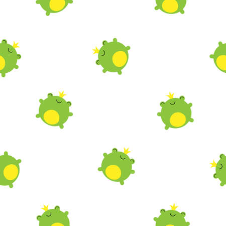 Seamless pattern with cute green frogs and crowns vector kawaii children illustration
