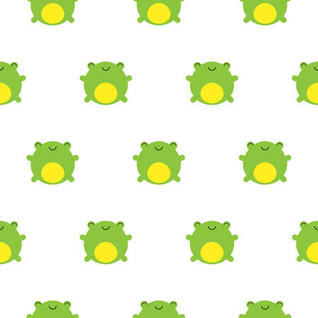 Seamless pattern cute frogs on white background