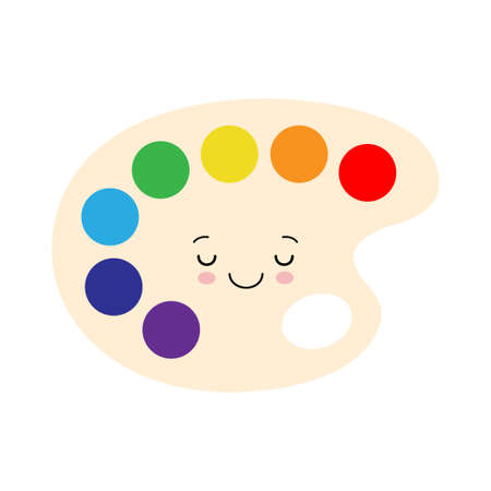 Kawaii Paint Palette Illustration. Cute and Happy School Supplies designed in cartoon style. Back to school elements for kids. Flat style